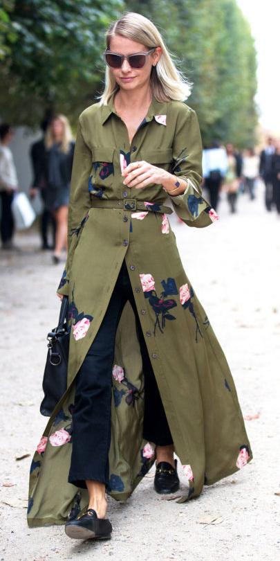 green-olive-dress-shirt-maxi-floral-print-blonde-lob-sun-black-shoe-loafers-black-crop-jeans-layer-fall-winter-lunch.jpg