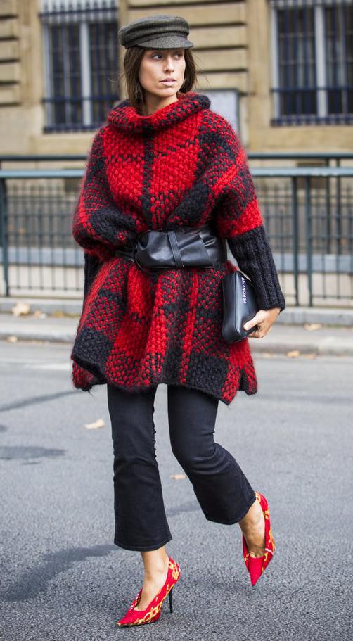 black-crop-jeans-red-shoe-pumps-red-sweater-tunic-plaid-wide-belt-hat-newsboycap-hairr-black-bag-clutch-fall-winter-lunch.jpg