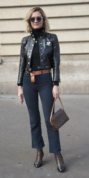 black-crop-jeans-bootcut-black-sweater-turtleneck-black-jacket-moto-belt-sun-fall-winter-brown-bag-blonde-lunch.jpg