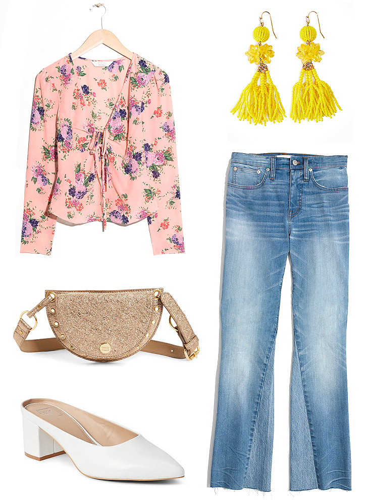 blue-light-flare-jeans-white-shoe-pumps-tan-bag-fannypack-gold-earrings-peach-top-blouse-floral-print-easter-spring-summer-lunch.jpg