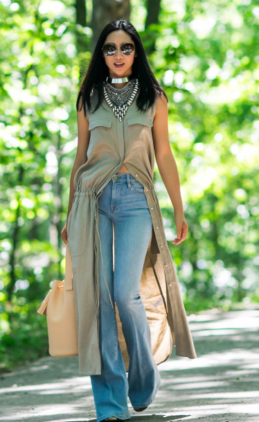 blue-light-flare-jeans-o-tan-dress-shirt-layer-necklace-bib-sun-wear-fashion-style-spring-summer-brun-lunch.jpg