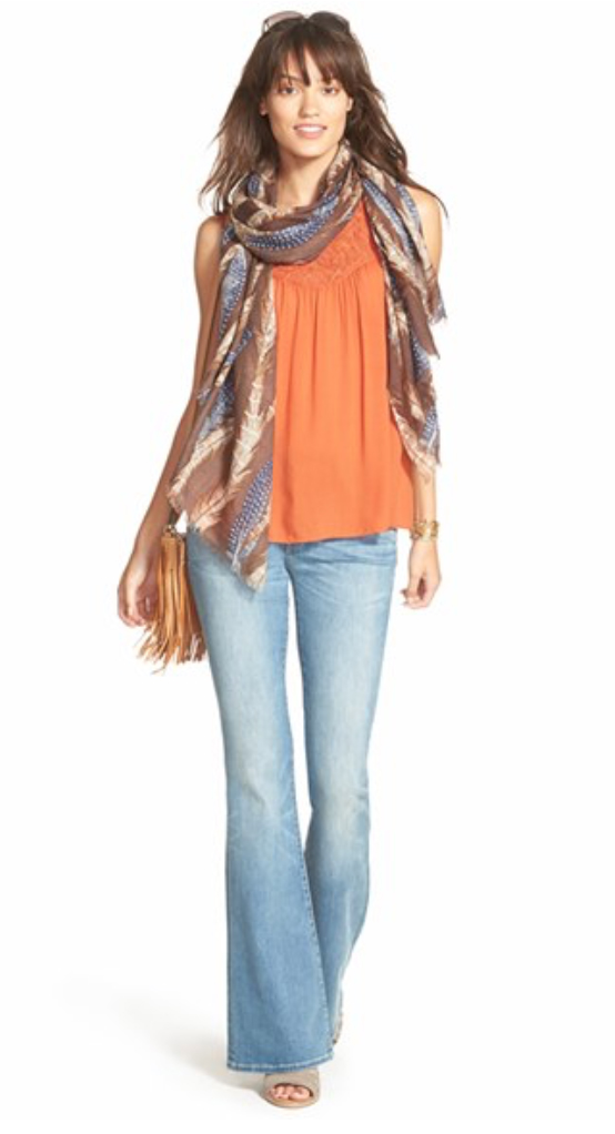 blue-light-flare-jeans-orange-top-brown-scarf-tan-shoe-sandalh-cognac-bag-wear-fashion-style-spring-summer-brun-weekend.jpg