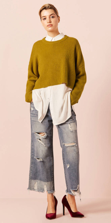 blue-light-flare-jeans-white-collared-shirt-yellow-sweater-bun-red-shoe-pumps-layer-oversized-destroyed-chartreuse-fall-winter-blonde-lunch.jpg