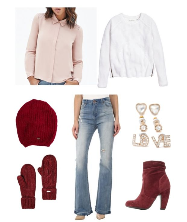 blue-light-flare-jeans-white-sweater-layer-pink-light-top-blouse-beanie-red-shoe-booties-gloves-howtowear-valentinesday-outfit-fall-winter-lunch.jpg