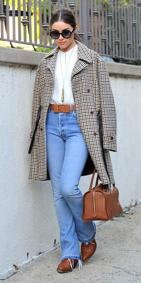 blue-light-flare-jeans-belt-cognac-bag-tan-jacket-coat-plaid-white-top-blouse-hairr-pony-sun-cognac-shoe-booties-oliviaculpo-fall-winter-lunch.jpg
