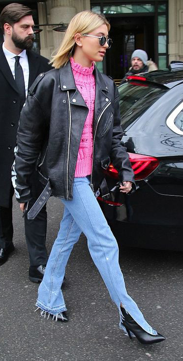 blue-light-flare-jeans-pink-magenta-sweater-black-jacket-moto-blonde-lob-sun-black-shoe-booties-haileybaldwin-fall-winter-lunch.jpg