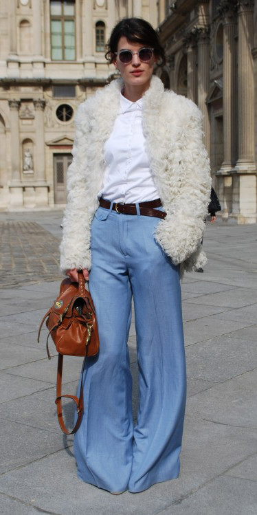 blue-light-flare-jeans-white-collared-shirt-white-jacket-coat-fur-fuzz-belt-cognac-bag-sun-bun-palazzo-fall-winter-brun-work.jpg