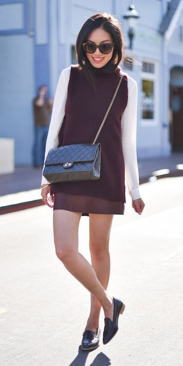 burgundy-mini-skirt-white-top-blouse-black-shoe-loafers-brun-sun-burgundy-sweater-sleeveless-fall-winter-weekend.jpg