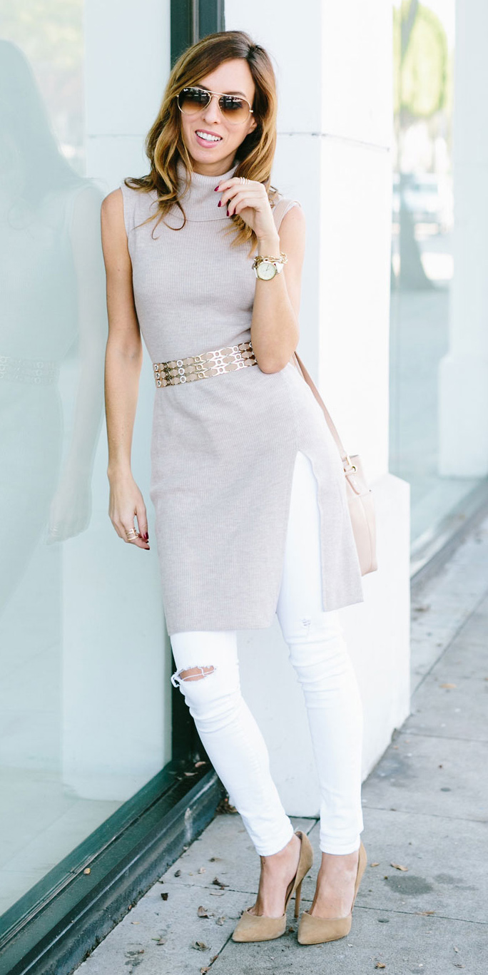 white-skinny-jeans-tan-sweater-sleeveless-belt-hairr-sun-tan-shoe-pumps-watch-spring-summer-lunch.jpg