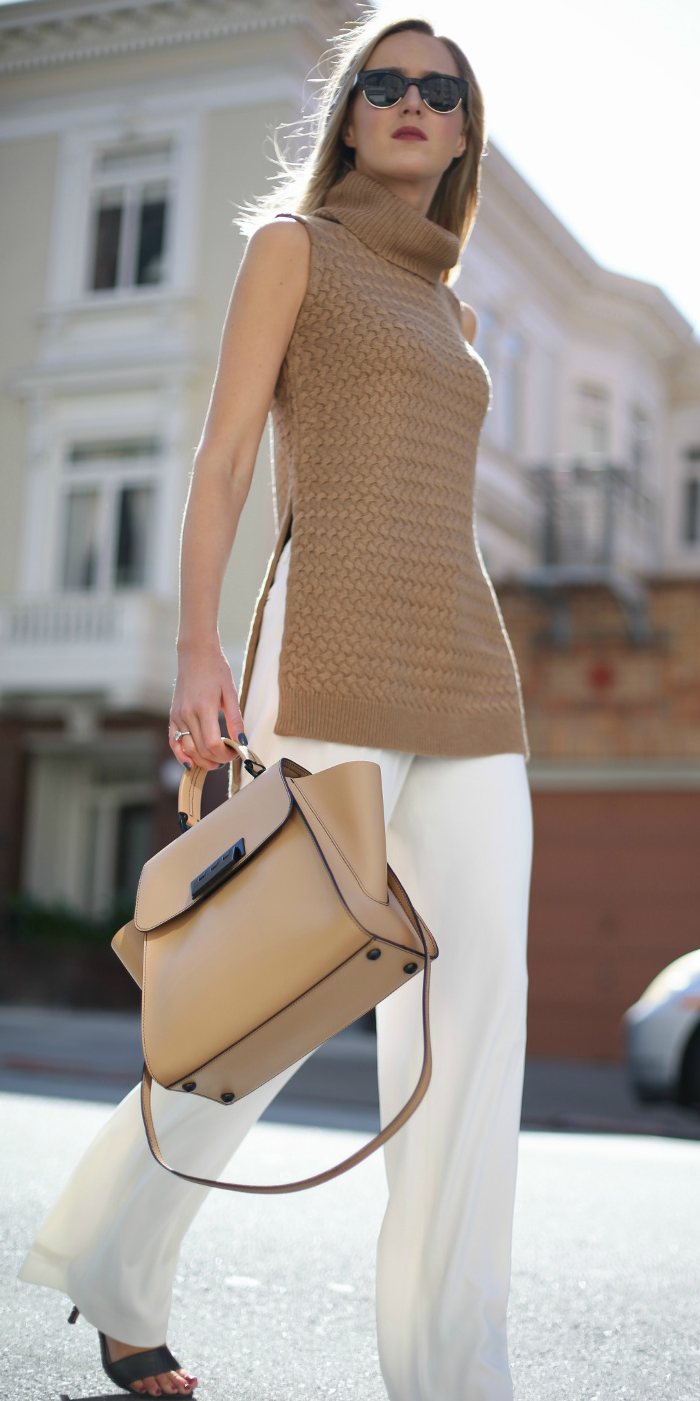 how-to-style-white-wideleg-pants-tan-bag-blonde-tan-sweater-sleeveless-black-shoe-sandalh-sun-fall-winter-fashion-work.jpg