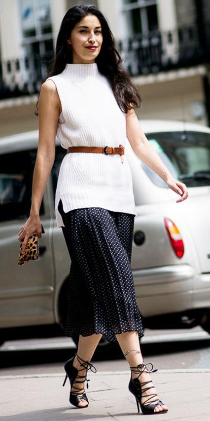 black-midi-skirt-white-sweater-sleeveless-belt-brun-black-shoe-sandalh-dot-print-spring-summer-dinner.jpg