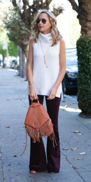 purple-royal-flare-jeans-cognac-bag-white-sweater-sleeveless-necklace-blonde-sun-fall-winter-lunch.jpg