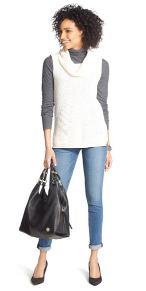 blue-med-skinny-jeans-grayd-tee-white-sweater-sleeveless-black-bag-black-shoe-pumps-brun-layer-fall-winter-lunch.jpg
