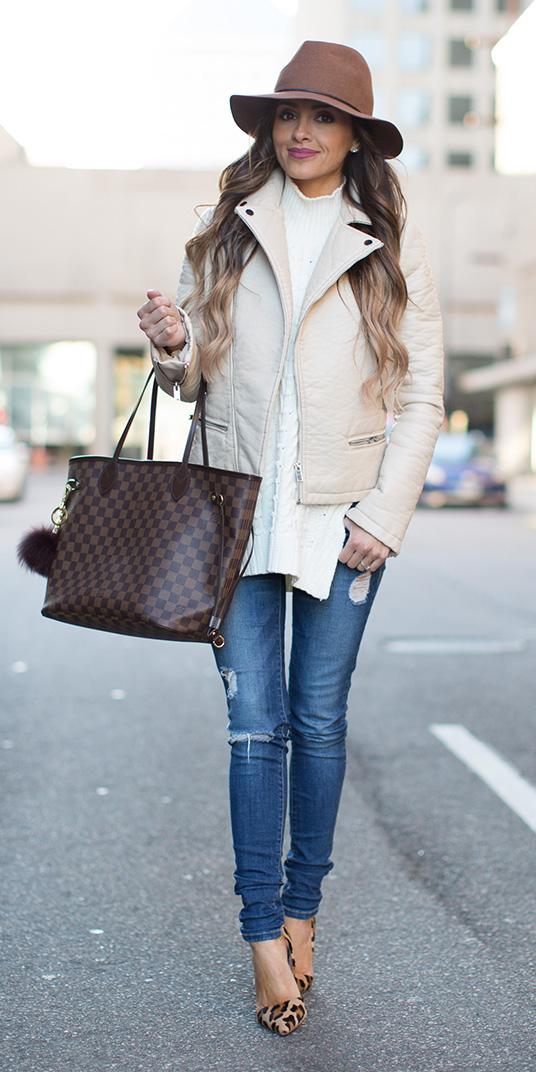 blue-med-skinny-jeans-white-sweater-sleeveless-hat-hairr-brown-bag-tote-tan-shoe-pumps-leopard-print-white-jacket-moto-fall-winter-lunch.jpg