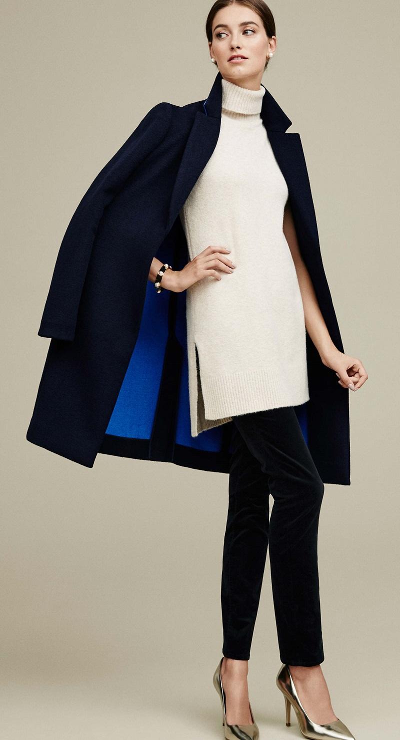 black-skinny-jeans-white-sweater-sleeveless-turtleneck-pearl-studs-bun-blue-navy-jacket-coat-fall-winter-hairr-dinner.jpg
