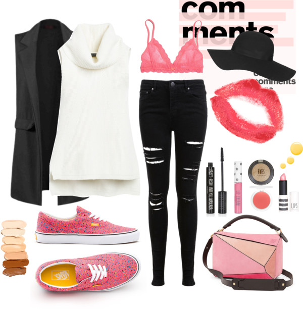 black-skinny-jeans-white-sweater-sleeveless-black-vest-tailor-magenta-shoe-sneakers-pink-bag-pink-bralette-hat-bracelet-howtowear-fashion-style-outfit-fall-winter-lunch.jpg
