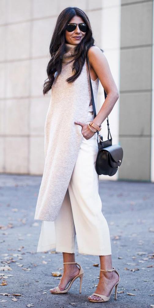 white-culottes-pants-white-sweater-sleeveless-black-bag-brun-sun-tan-shoe-sandalh-fall-winter-lunch.jpg