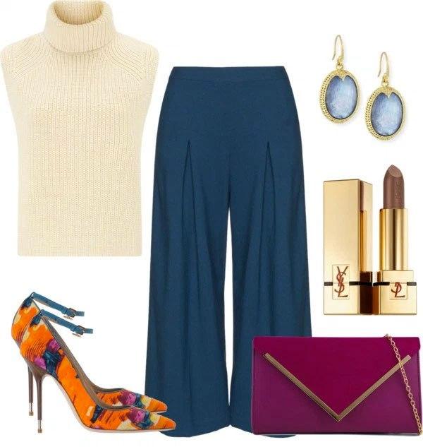 blue-navy-culottes-pants-blue-earrings-white-sweater-sleeveless-orange-shoe-pumps-burgundy-bag-fall-winter-dinner.jpg
