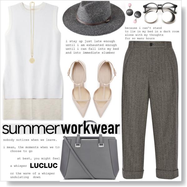 grayd-joggers-pants-white-sweater-sleeveless-hat-studs-gray-bag-white-shoe-pumps-spring-summer-work.jpg