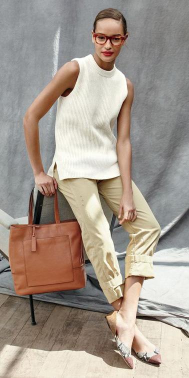 tan-chino-pants-white-sweater-sleeveless-cognac-bag-tote-white-shoe-flats-bun-jcrew-spring-summer-brun-work.jpg