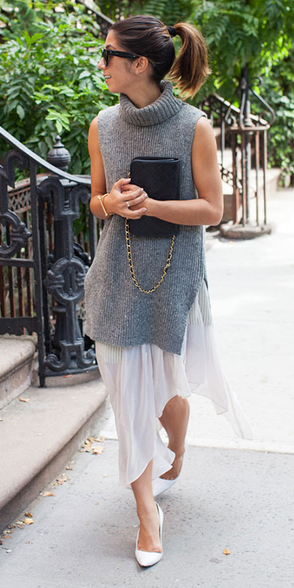 white-midi-skirt-grayl-sweater-sleeveless-black-bag-white-shoe-pumps-hairr-pony-sun-spring-summer-dinner.jpg