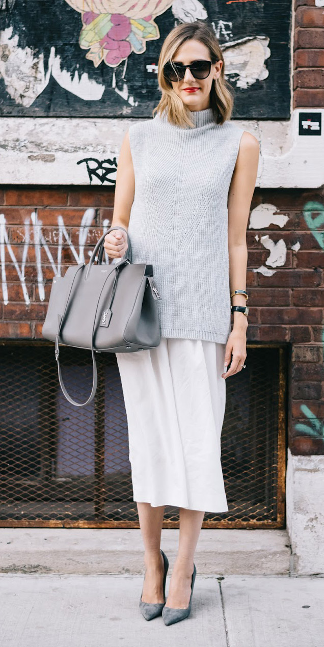 white-midi-skirt-gray-bag-tote-grayl-sweater-sleeveless-gray-shoe-pumps-sun-spring-summer-blonde-work.jpg
