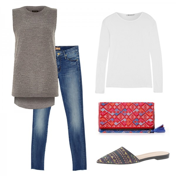 blue-med-skinny-jeans-white-tee-grayl-sweater-sleeveless-red-bag-clutch-gray-shoe-flats-fall-winter-weekend.jpg