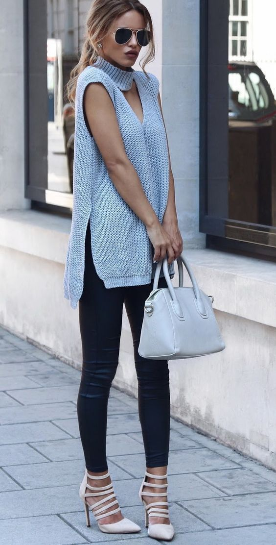 black-leggings-grayl-sweater-sleeveless-blonde-pony-sun-tan-shoe-pumps-fall-winter-lunch.jpg