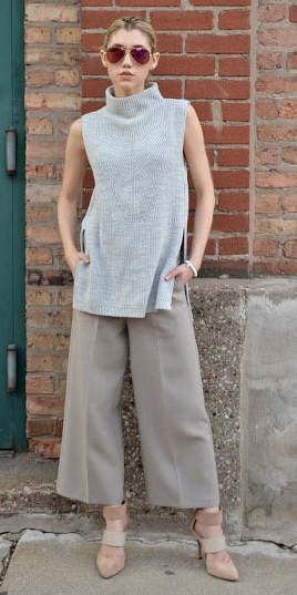 grayl-culottes-pants-tan-shoe-pumps-grayl-sweater-sleeveless-blonde-sun-fall-winter-lunch.jpg