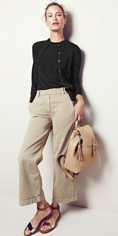 tan-chino-pants-black-sweater-sleeveless-black-cardigan-bun-tan-bag-pack-tan-shoe-sandals-spring-summer-blonde-weekend.jpg