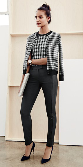 black-slim-pants-black-sweater-sleeveless-shell-black-cardigan-gingham-black-shoe-pumps-bun-twinset-fall-winter-brun-work.jpg