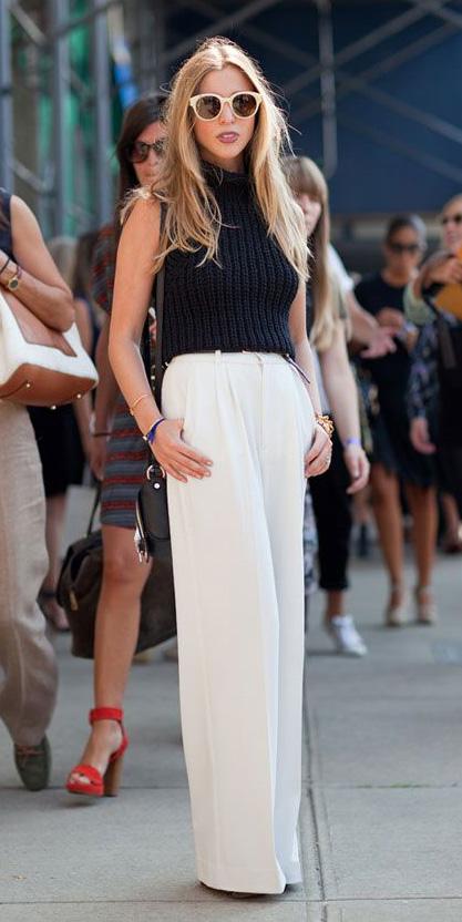 white-wideleg-pants-black-sweater-sleeveless-sun-spring-summer-blonde-lunch.jpg