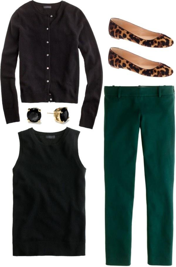 green-dark-slim-pants-black-sweater-sleeveless-black-cardigan-studs-brown-shoe-flats-leopard-fall-winter-work.jpg