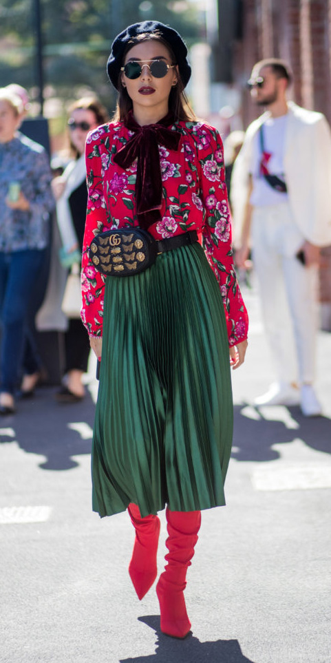 green-dark-midi-skirt-pleat-red-top-blouse-print-brun-sun-hat-beret-fannypack-red-shoe-boots-fall-winter-lunch.jpg