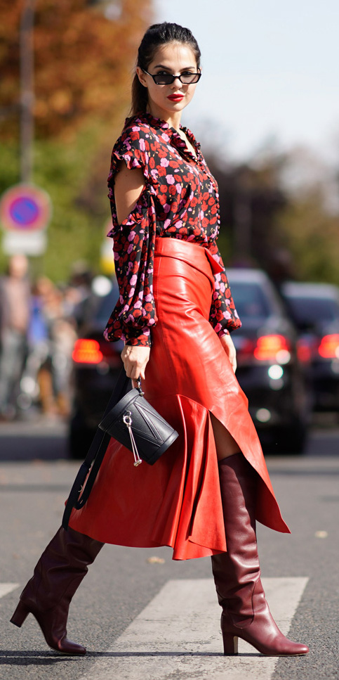 red-midi-skirt-leather-red-top-blouse-print-brun-pony-sun-burgundy-shoe-boots-black-bag-fall-winter-lunch.jpg