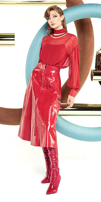 red-midi-skirt-patent-leather-mono-red-top-blouse-hoops-gigihadid-red-shoe-boots-fall-winter-blonde-lunch.jpg