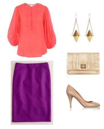 purple-royal-pencil-skirt-red-top-blouse-tan-shoe-pumps-tan-bag-earrings-fall-winter-dinner.jpg