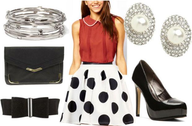 white-mini-skirt-red-top-blouse-dot-black-bag-clutch-howtowear-fashion-style-outfit-spring-summer-peterpancollar-wide-belt-black-shoe-pumps-bracelet-studs-night-dinner.jpg