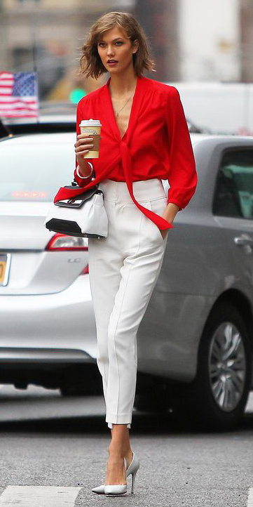 white-slim-pants-red-top-blouse-white-bag-white-shoe-pumps-bob-karliekloss-spring-summer-lunch.jpg