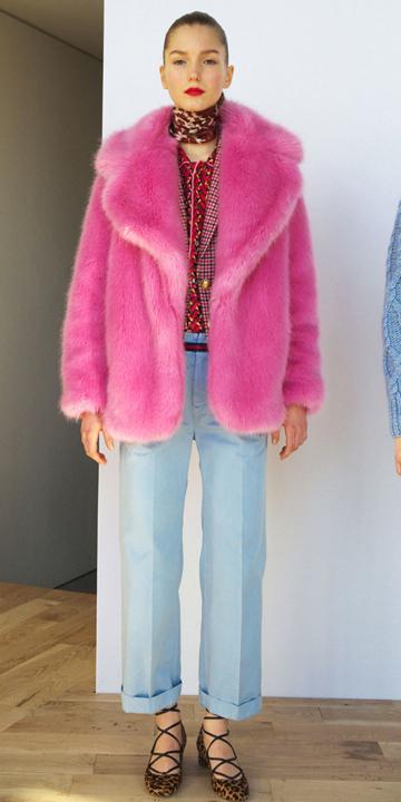 blue-light-culottes-pants-red-top-blouse-pink-magenta-jacket-coat-fur-hairr-tan-shoe-flats-leopard-fall-winter-style-fashion-wear-neck-brown-scarf-jcrew-lunch.jpg