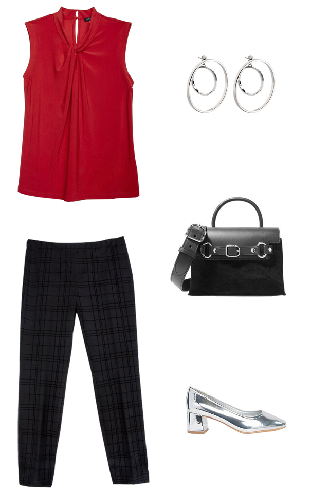 black-slim-pants-red-top-blouse-black-bag-howtowear-fashion-style-outfit-fall-winter-metallic-gray-shoe-pumps-earrings-plaid-work.jpg