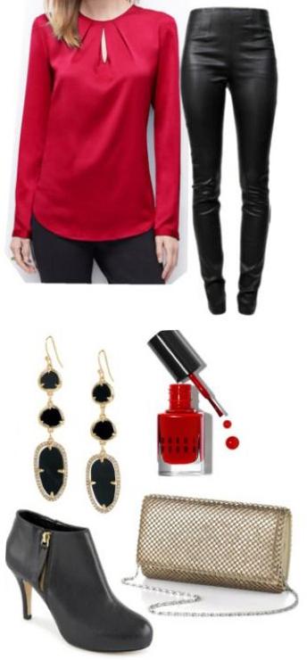 black-skinny-jeans-red-top-blouse-nail-tan-bag-black-earrings-black-shoe-booties-leather-fall-winter-holiday-dinner.jpg