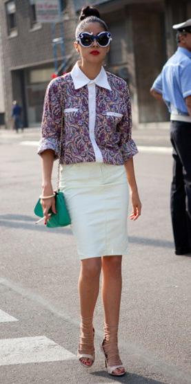 white-pencil-skirt-burgundy-top-blouse-sun-brun-bun-green-bag-tan-shoe-sandalh-spring-summer-work.jpg