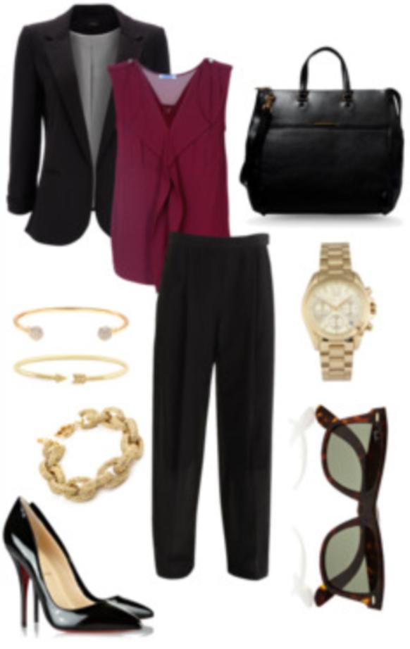 black-slim-pants-r-burgundy-top-howtowear-black-shoe-pumps-black-bag-sun-bracelet-watch-black-jacket-blazer-fall-winter-work.jpg