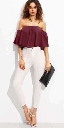 white-skinny-jeans-burgundy-top-offshoulder-necklace-collar-hairr-white-shoe-sandalh-spring-summer-dinner.jpg