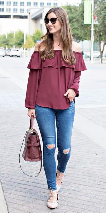 blue-med-skinny-jeans-burgundy-top-offshoulder-burgundy-bag-tan-shoe-flats-hairr-sun-fall-winter-weekend.jpg
