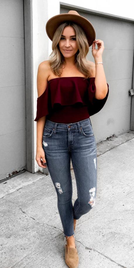 blue-med-skinny-jeans-burgundy-top-offshoulder-blonde-hat-tan-shoe-loafers-spring-summer-weekend.jpg