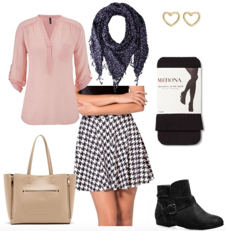 white-mini-skirt-check-houndstooth-pink-light-top-blouse-black-shoe-booties-black-tights-fall-winter-lunch.jpg