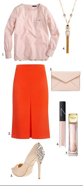 red-midi-skirt-r-pink-light-top-blouse-necklace-pend-tan-shoe-pumps-pink-bag-clutch-howtowear-fashion-style-outfit-spring-summer-dinner.jpg