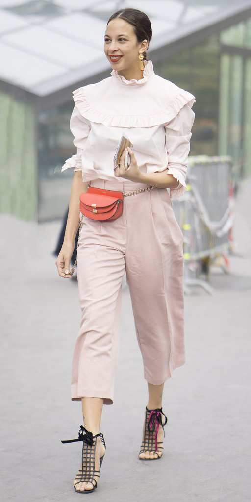 pink-light-culottes-pants-pink-light-top-blouse-peasant-red-bag-fannypack-brun-earrings-black-shoe-sandalh-bun-spring-summer-dinner.jpg